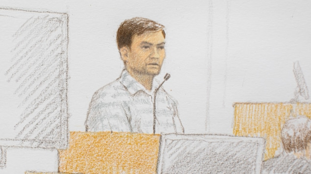 Croquis d'Andrew Berry au banc des accusés.