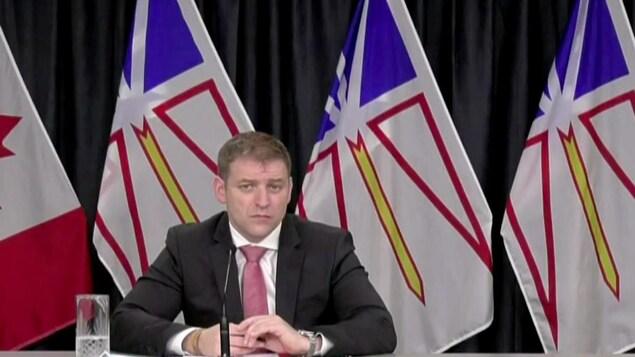 Andrew Furey, premier ministre de Terre-Neuve-et-Labrador, en conférence de presse le 21 décembre 2020.