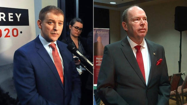 Montage photo des deux hommes politiques vêtus de complets et de cravate.