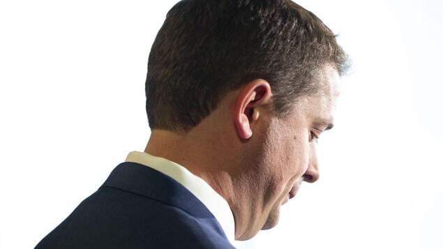 Le chef conservateur fédéral Andrew Scheer lors d'une conférence de presse à Toronto, le jeudi 29 août 2019.