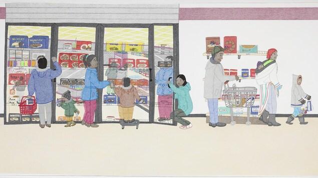 Grand dessin où l'on voit des familles inuites dans un grand magasin de Cape Dorset. Ils sont devant un congélateur. On aperçoit les denrées comme du poulet frit congelé. Sur une étagère se retrouve des craquelins de marque Ritz.