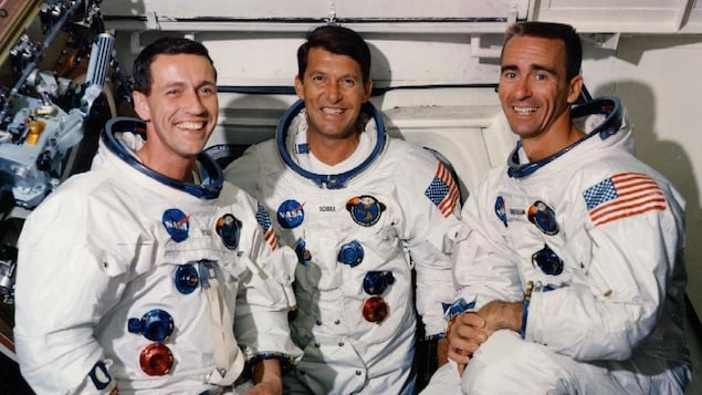 Les trois astronautes de la mission Apollo 7.