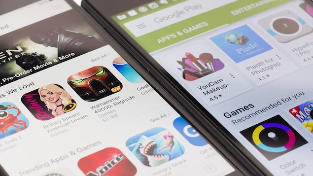 Un écran d'iPhone montrant le App Store et un téléphone Android montrant le Google Play Store côte à côte.