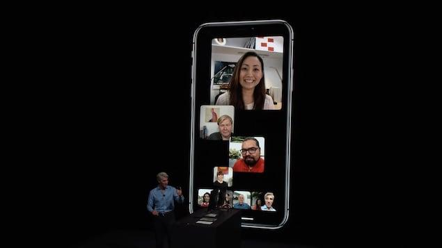Une capture d'écran montrant une démonstration de conversation à huit personnes sur FaceTime.