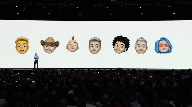 Une capture d'écran de la présentation d'Apple montrant des exemples de personnages memojis.