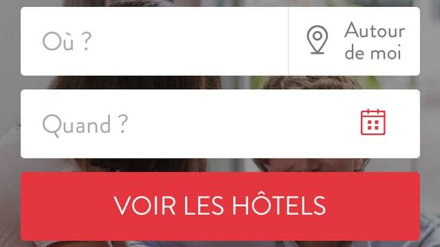 Capture d'écran de l'accueil de l'appli