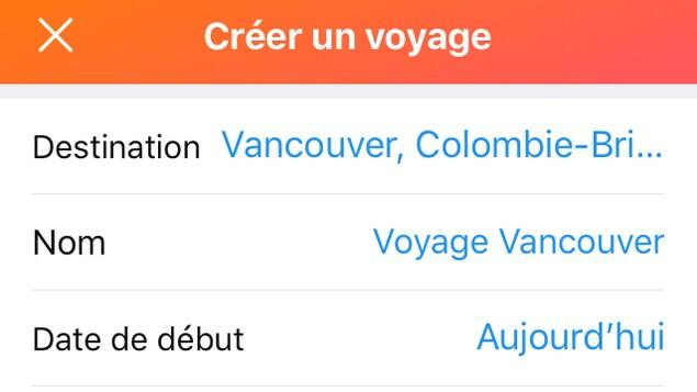 Capture d'écran d'une création de voyage sur l'appli
