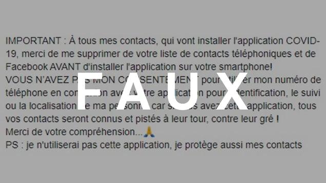 """Capture d'écran d'une publication Facebook. Le mot """"FAUX"""" est superposé sur l'image."""