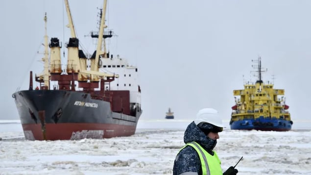 A picture taken in 2016 shows an icebreaker, right, at the port of Sabetta in the Kara Sea shore line on the Yamal Peninsula in the Arctic circle. On Wednesday, the European Union said it plans to seek ban on oil and gas exploration in the Arctic.