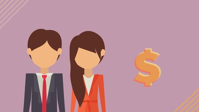 Illustration d'un homme et d'une femme avec un signe de dollar.