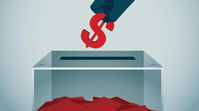 Une illustration montrant un homme déposant un signe de dollar dans une boîte de scrutin.