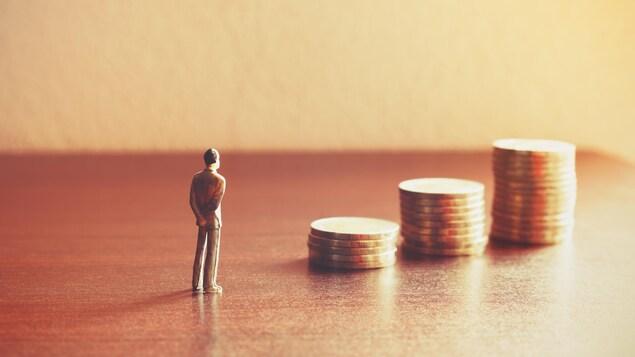 Une petite figurine d'un homme se tient devant trois piles de pièces de monnaie de plus en plus grande.
