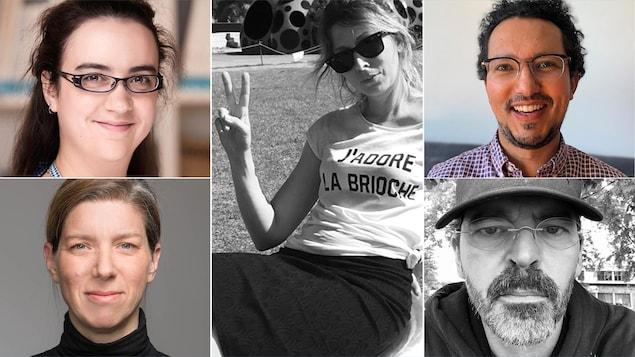 Montage de cinq portraits des finalistes.