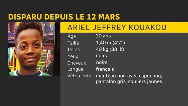 Ariel Kouakou est disparu depuis le 12 février. Il a 10 ans, mesure 1,4 mètre, pèse 40 kilos, a les yeux noirs et les cheveux noirs. Il parle français. Au moment de sa disparition, il portait un manteau noir avec capuchon, un pantalon gris et des souliers jaunes.