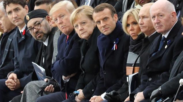 Plus de 70 dirigeants mondiaux réunis sous l'Arc du Triomphe à Paris en hommage aux victimes de la Première Guerre, à l'occasion du 100e anniversaire de l'Armistice.