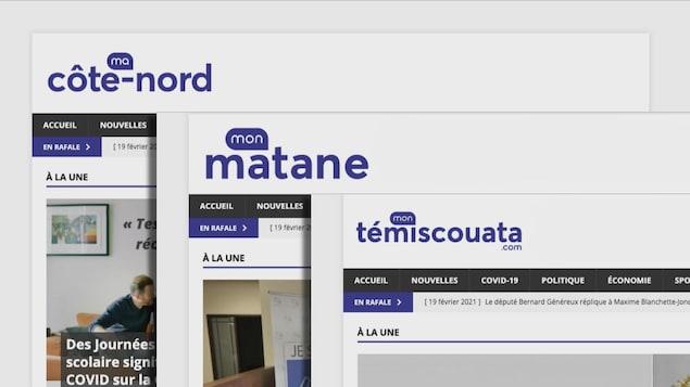 Montage illustrant trois des huit sites d'information du groupe Arsenal Media