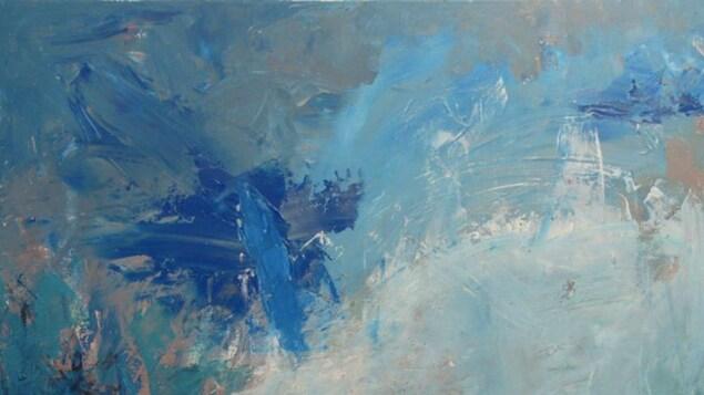 Slow down and take a break, une oeuvre de Carolyne Rhéaume disponible sur Art Bang Bang. Déploiement de bleu