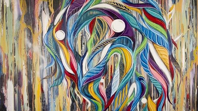Tokyo, une oeuvre de Phelipe Soldevila disponible sur la plateforme Art Bang Bang. Cela ressemble à un serpent multicolore.