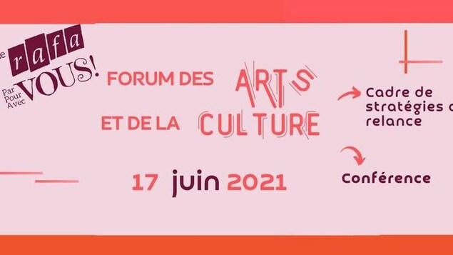 Un affiche en forme de billet de spectacle pour annoncer le 16e Forum annuel des arts et de la culture du Regroupement artistique francophone de l'Alberta.