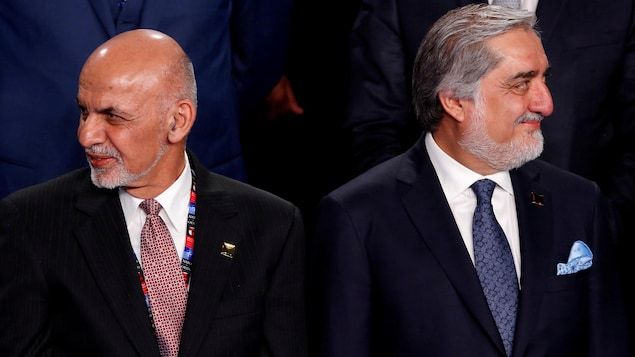 Ashraf Ghani et Abdullah Abdullah au sommet de l'OTAN à Varsovie, en Pologne en juillet 2016