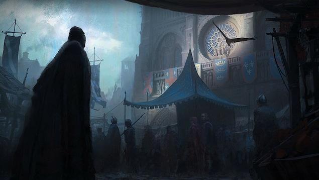 Une peinture d'un homme à contre-jour devant la cathédrale Notre-Dame de Paris