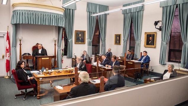 Des députés rassemblés en chambre législative.