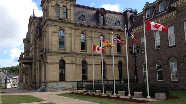 Des drapeaux flottent devant l'Assemblée législative du Nouveau-Brunswick