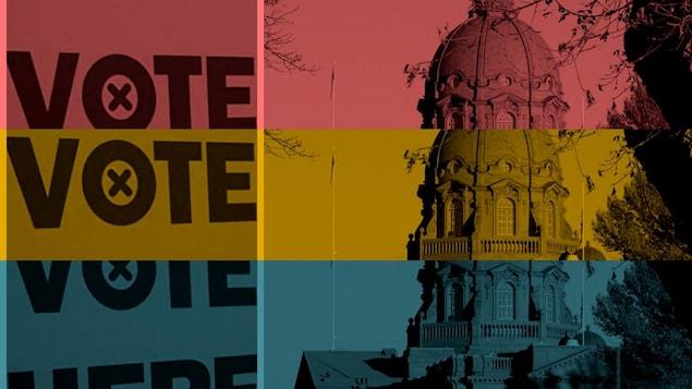Un montage photo. À droite le bâtiment de l'Assemblée législative de l'Alberta. À gauche, il est inscrit «vote». L'image à trois couleurs: rouge, orange et bleu.