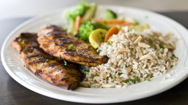 Une assiette de poulet de riz.