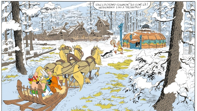 Astérix et Obélix arrivent en traineau à l'entrée d'un village.