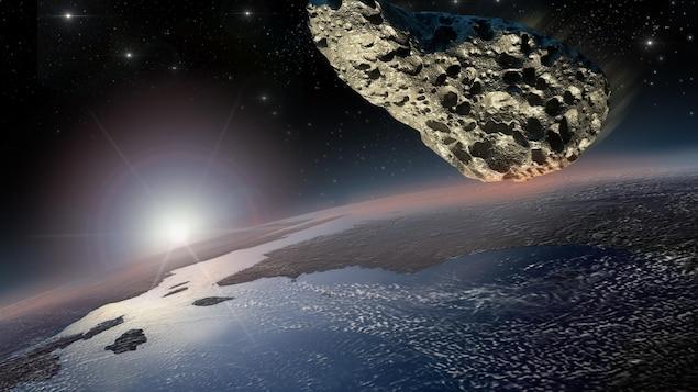 Un astéroïde se dirige vers la planète Terre.