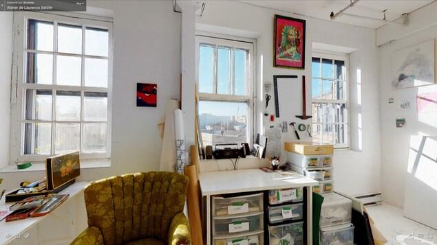 Visite virtuelle de l'atelier d'artiste de Laurence Belzile