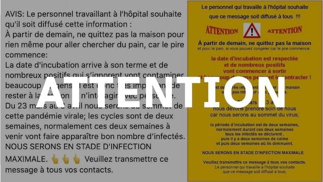 Deux versions d'une publication Facebook avec un avertissement. Le mot ATTENTION est écrit en majuscules sur l'image.