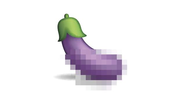 Une illustation d'aubergine pixélisée.