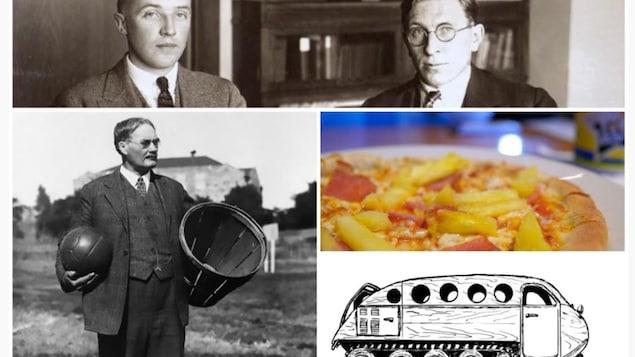 في الأعلى: رجلان. إلى اليمين: كعكة بيتزا وعربة ثلجية. إلى اليسار: رجل يحمل كرة بيد وسلة باليد الأُخرى.