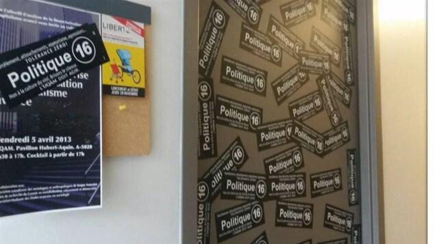 La porte d'un professeur accusé de harcèlement par des étudiants anonymes de l'UQAM en 2014.