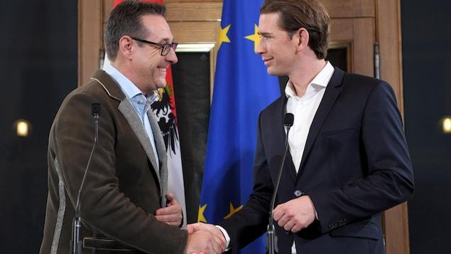 Le chef du Parti de la liberté d'Autriche (FPÖ), Heinz-Christian Strache, et le chancelier conservateur autrichien, Sebastian Kurz, se serrent la main.