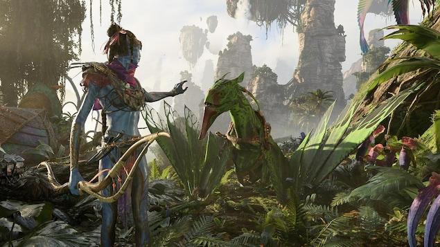 Une créature tenant un arc fait un signe à un animal derrière elle.