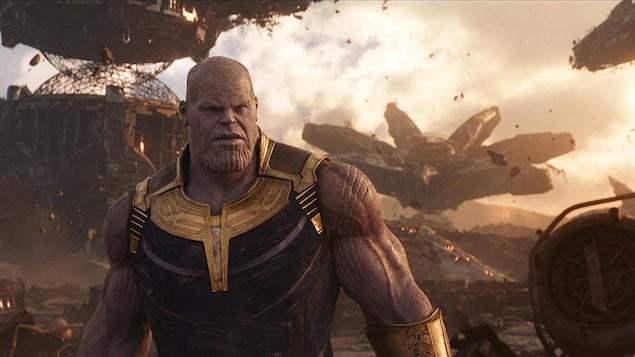 Image tirée du film montrant l'acteur Josh Brolin dans le rôle du méchant Thanos.