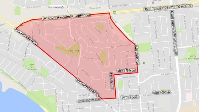 Une carte représentant en rouge le secteur dans lequel l'eau n'est pas potable.
