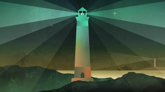 Le dessin d'un phare dans la nuit qui éclaire les environs.