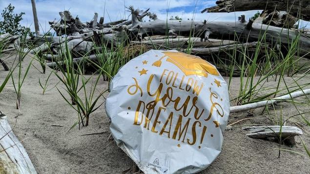 Un ballon sur la plage avec l'inscription: « suis tes rêves! »