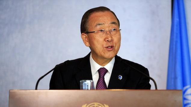 Ban Ki-moon livre un discours devant l'ONU