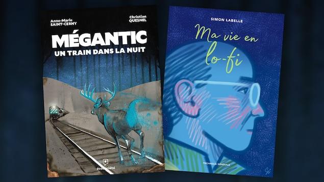 Les couvertures des bédés Mégantic, un train dans la nuit et de Ma vie en lo-fi.