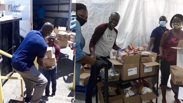 Des bénévoles en train de répartir des denrées dans des boîtes.