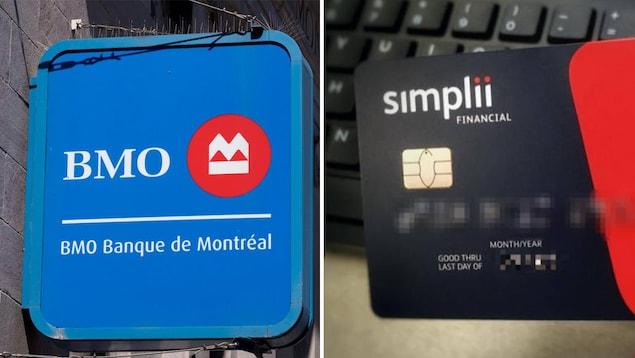 Photo d'une enseigne bleue de la Banque de Montréal et d'une carte de guichet Simplii