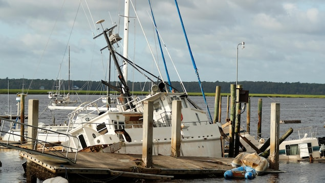 Un bateau coulé par la tempête Irma sur les côtes de la Georgie.