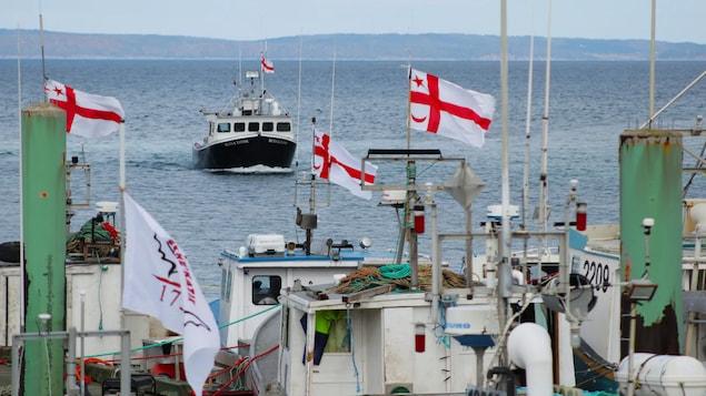 Un bateau de pêche au large, devant des bateaux avec des drapeaux micmacs au quai.