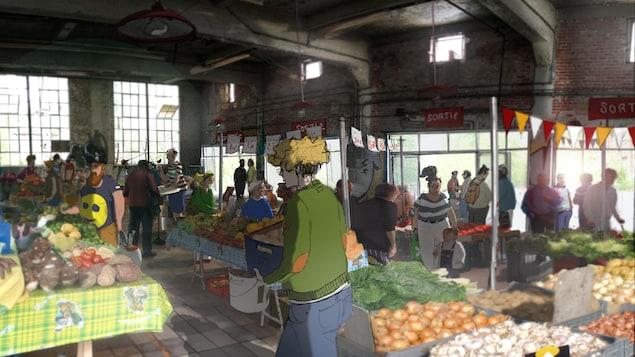 Une illustration montre des gens qui achètent des fruits et légumes