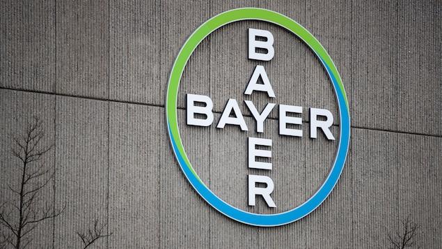 Le logo de Bayer de couleur vert et bleu.